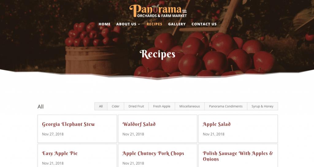 Sortable recipe page