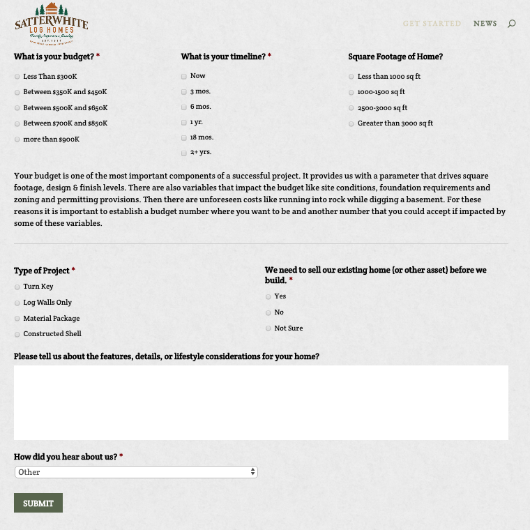 lengthy form designed to qualify the customer