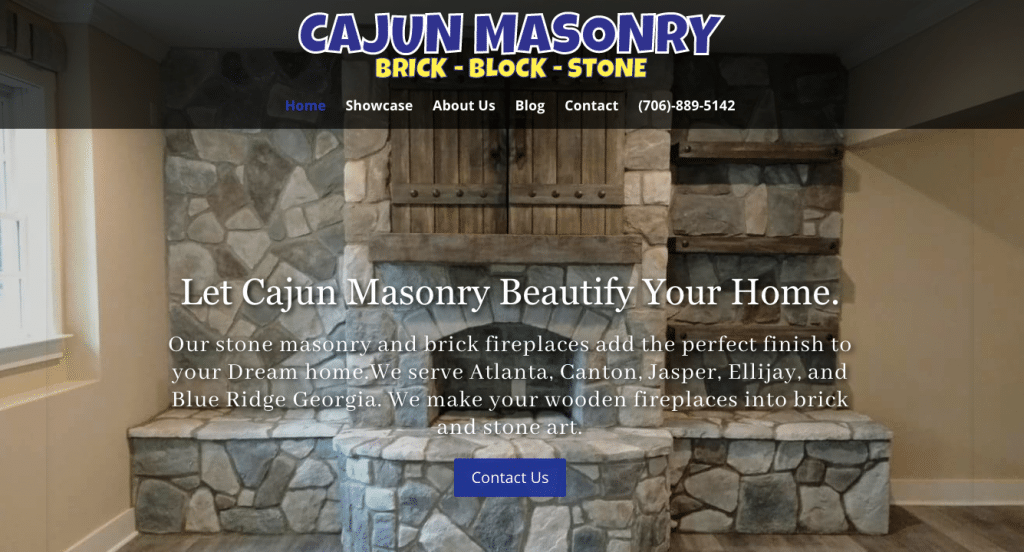 cajun masonry website screen shot