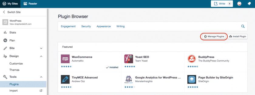 click Manage Plugins